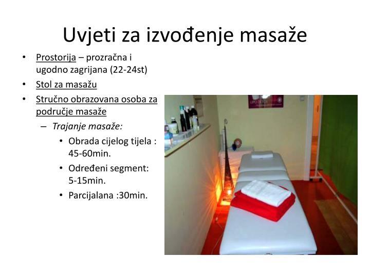 Uvjeti za izvođenje masaže