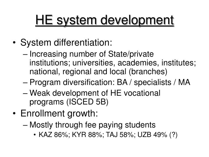 HE system development