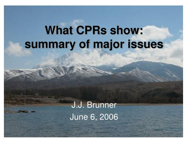 What cprs show summary of major issues
