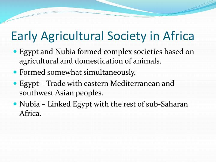 Early agricultural society in africa