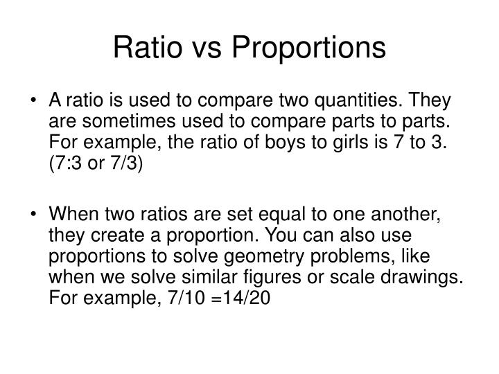 Ratio vs Proportions