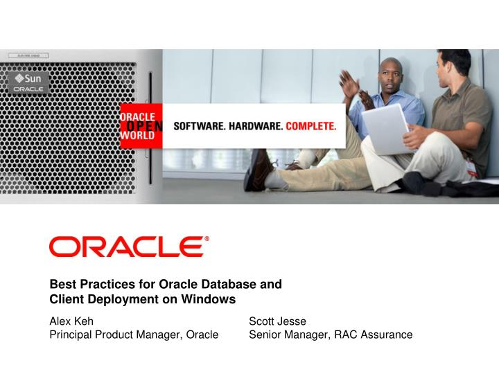 Best Practices for Oracle Database and