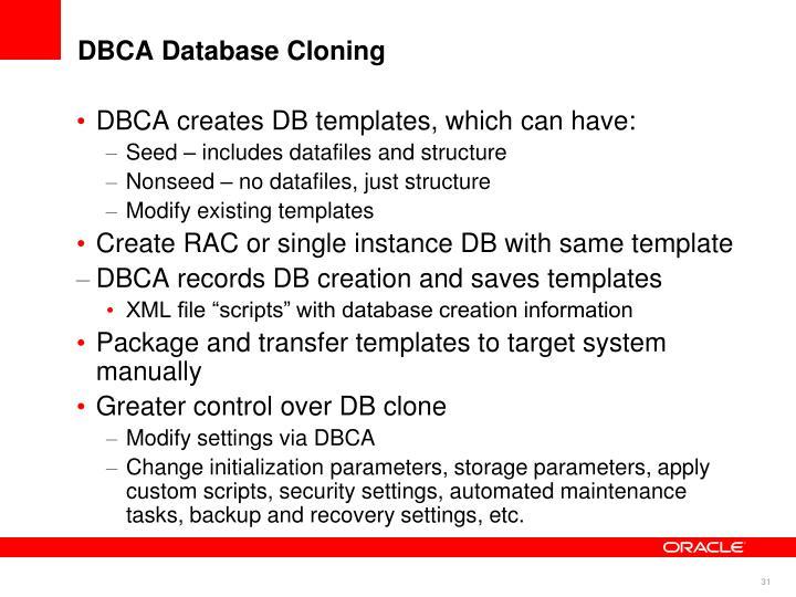 DBCA Database Cloning
