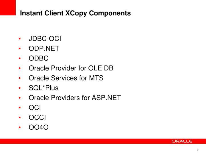 Instant Client XCopy Components