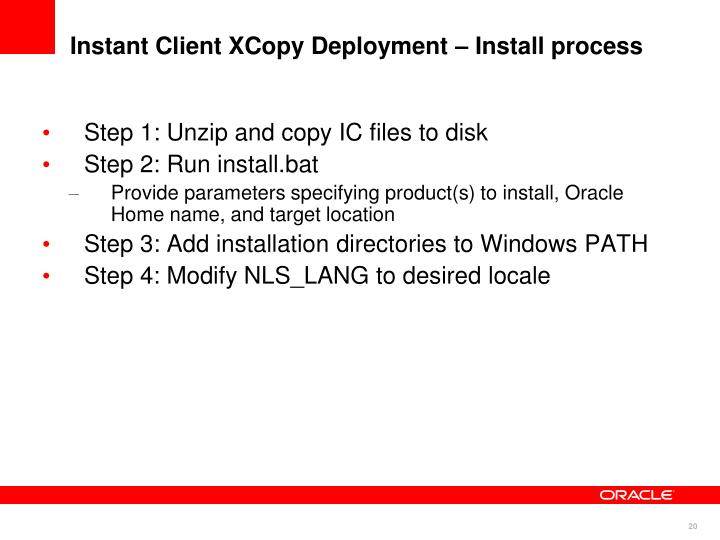 Instant Client XCopy Deployment – Install process