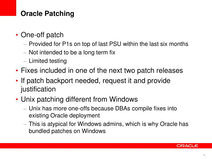 Oracle Patching