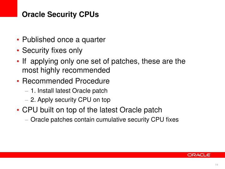 Oracle Security CPUs