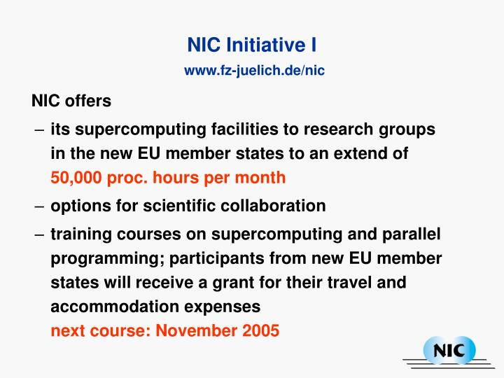 NIC offers