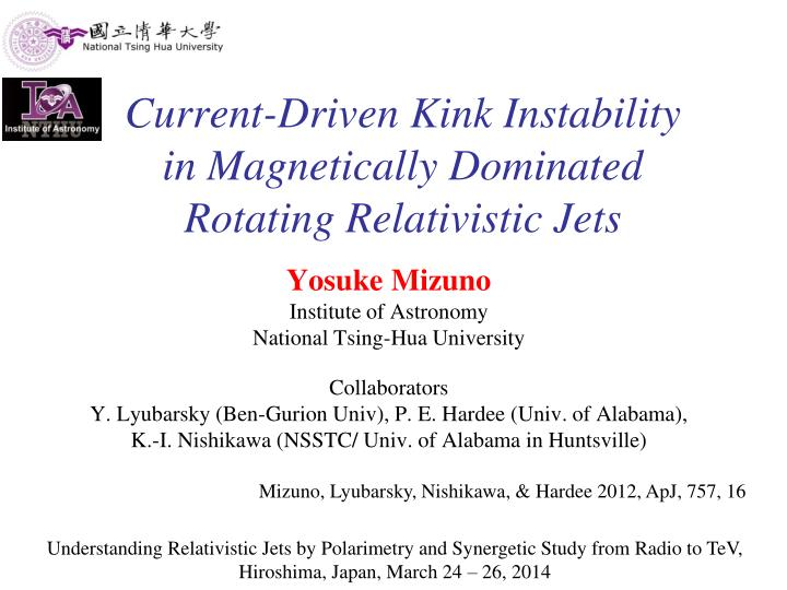 Current driven kink instability in magnetically dominated rotating relativistic jets