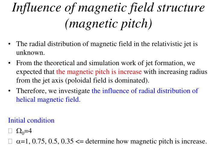 Influence of magnetic field structure (magnetic pitch)