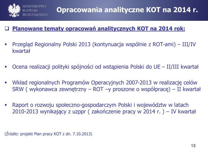 Opracowania analityczne KOT na 2014 r.