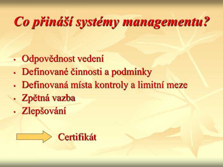 Co přináší systémy managementu?