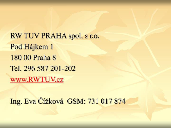 RW TUV PRAHA spol. s r.o.
