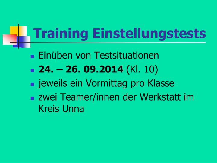 Training Einstellungstests