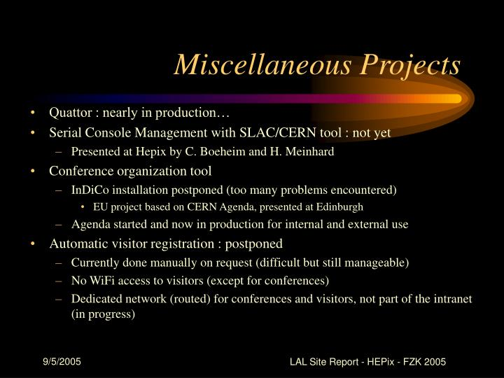 Miscellaneous Projects
