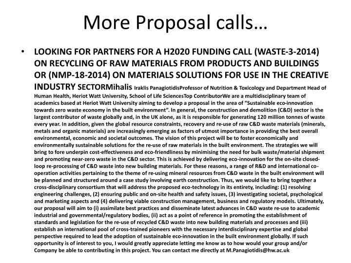 More Proposal calls…
