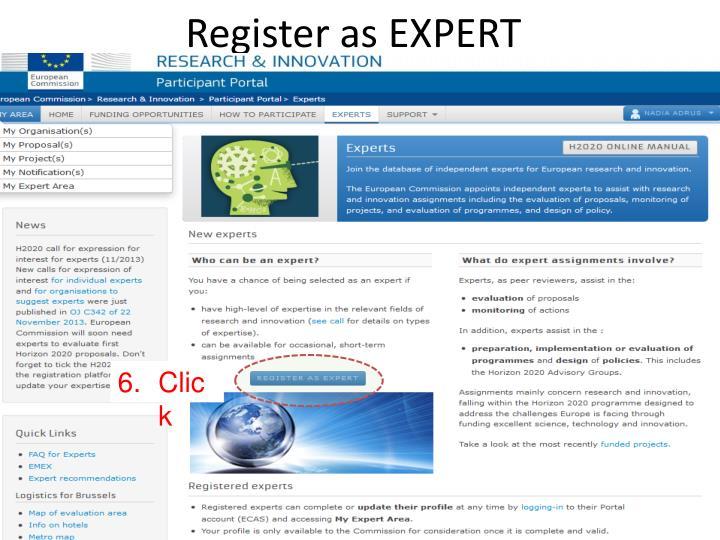 Register as EXPERT
