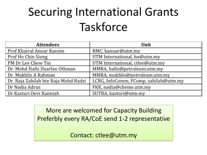Securing International Grants Taskforce