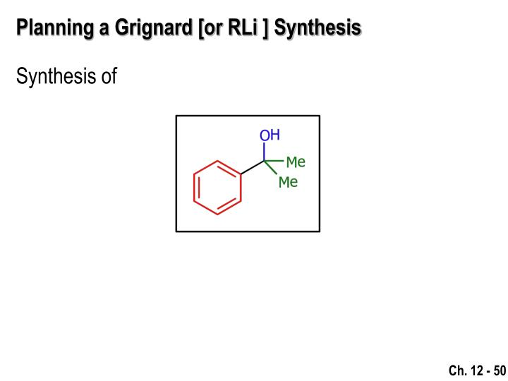 Planning a Grignard [or RLi ] Synthesis