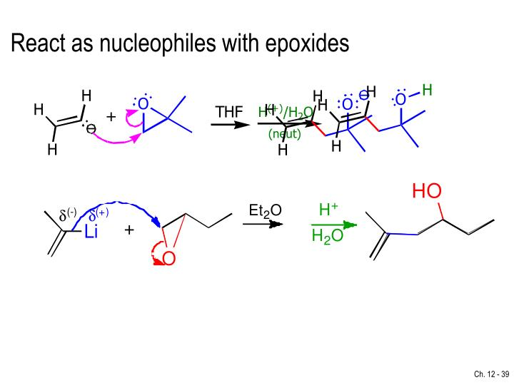 React as nucleophiles with epoxides