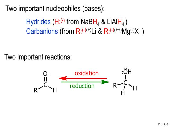 Two important nucleophiles (bases):