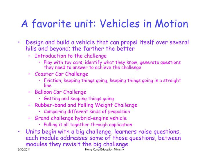 A favorite unit: Vehicles in Motion