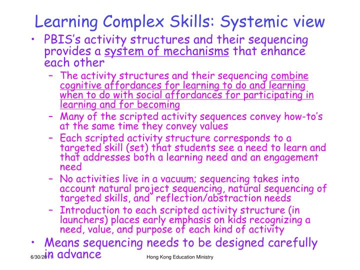 Learning Complex Skills: Systemic view