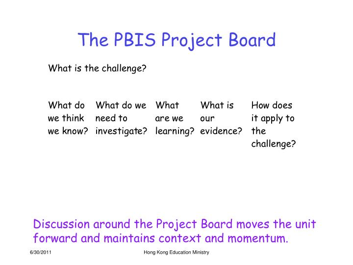 The PBIS Project Board