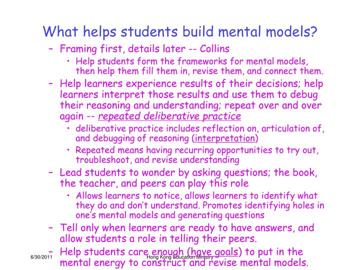 What helps students build mental models?