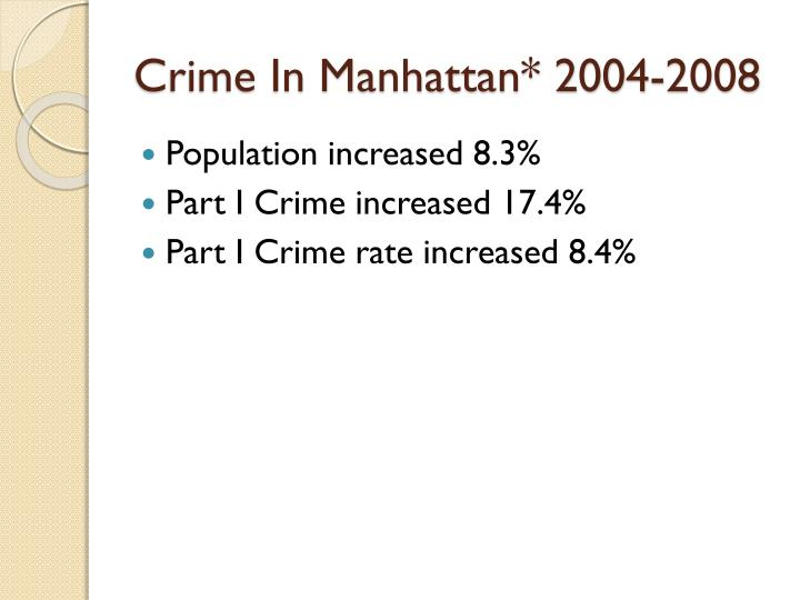 Crime In Manhattan* 2004-2008