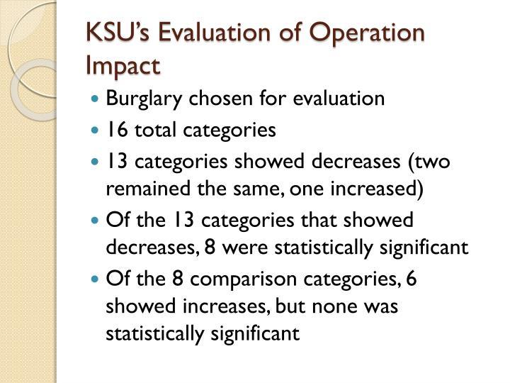 KSU's Evaluation of Operation Impact