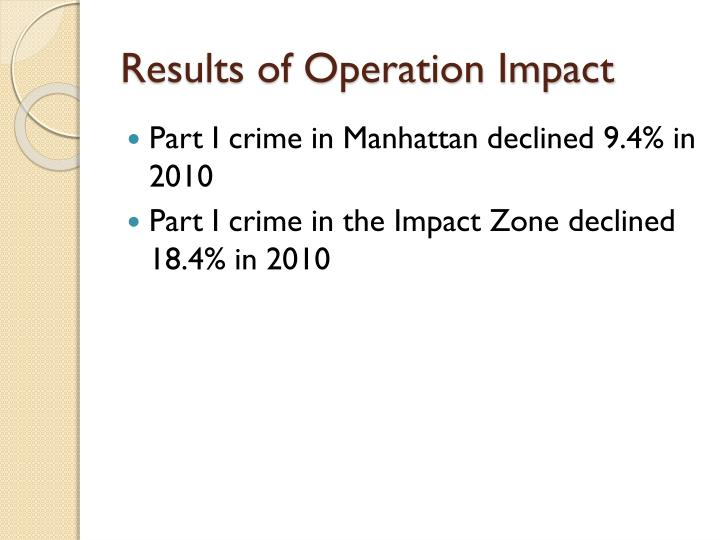 Results of Operation Impact