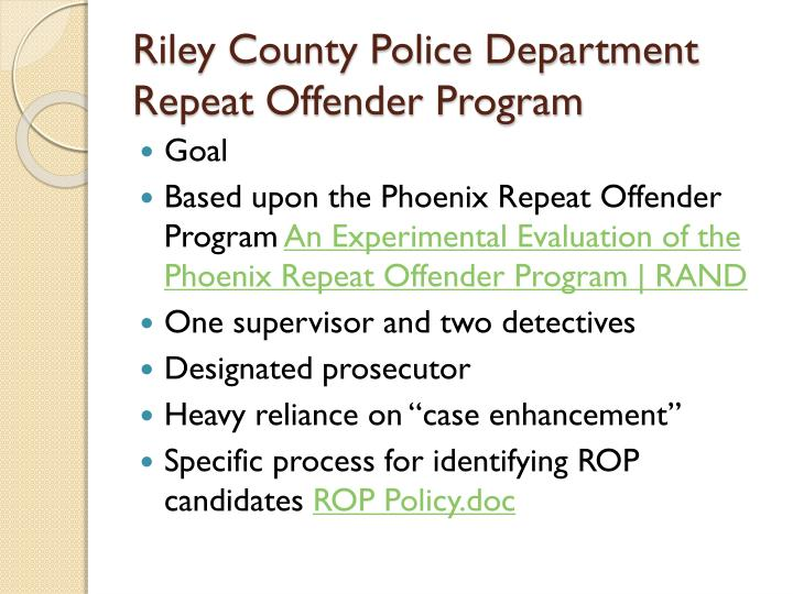 Riley County Police Department Repeat Offender Program