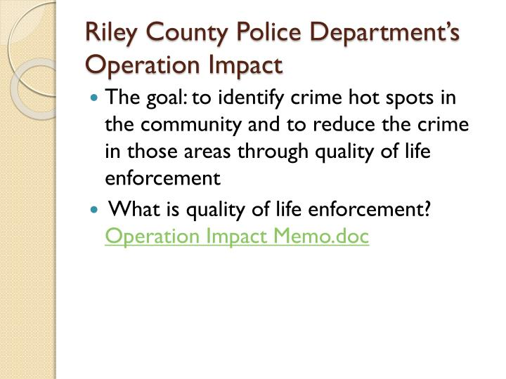 Riley County Police Department's Operation Impact