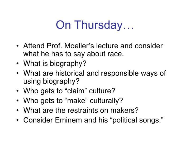 On Thursday…
