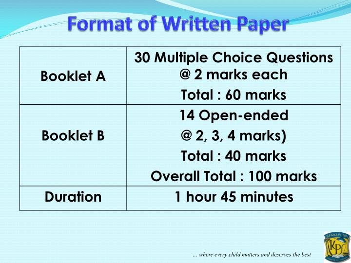 Format of Written Paper