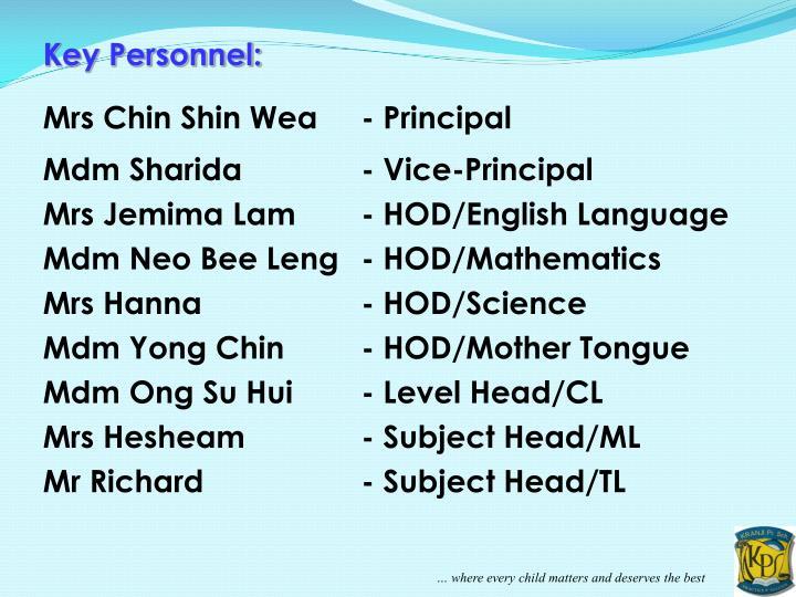 Key Personnel: