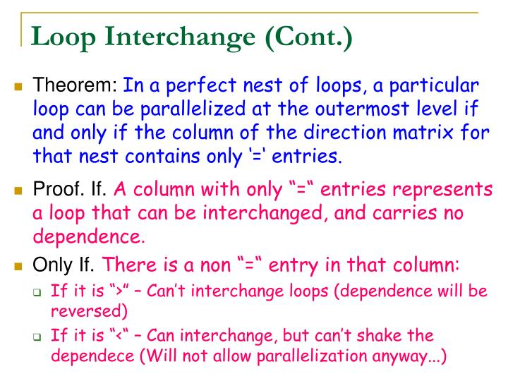 Loop Interchange (Cont.)