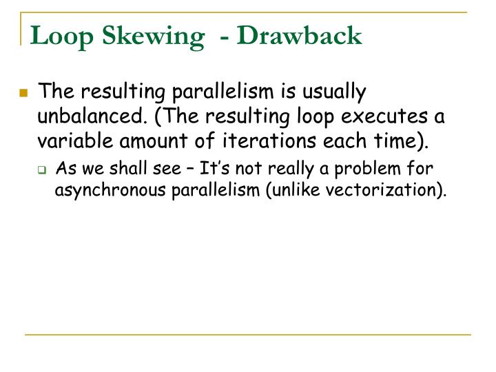 Loop Skewing  - Drawback
