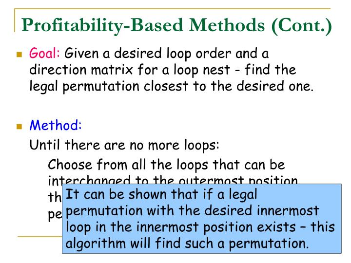 Profitability-Based Methods (Cont.)