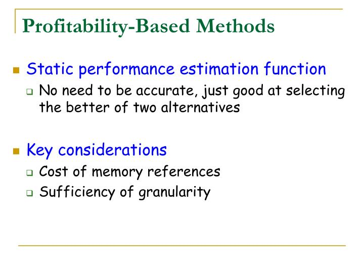 Profitability-Based Methods