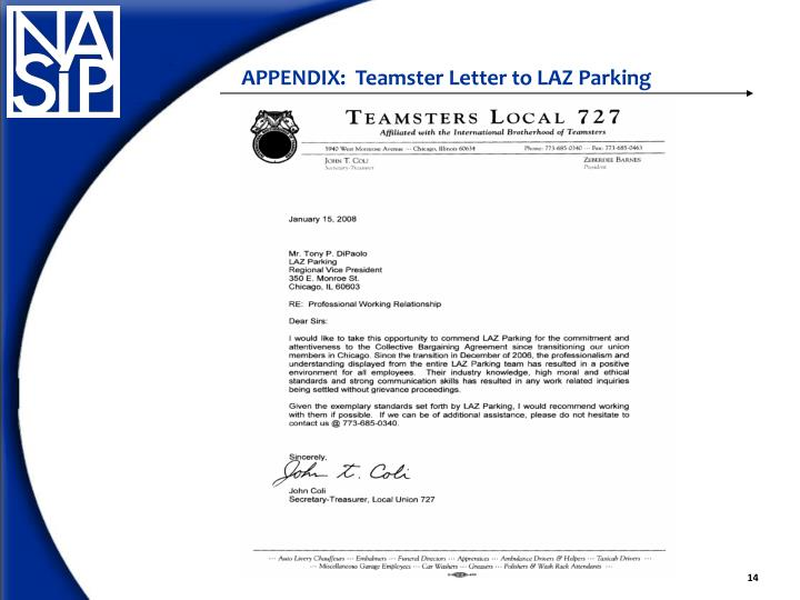 APPENDIX:  Teamster Letter to LAZ Parking