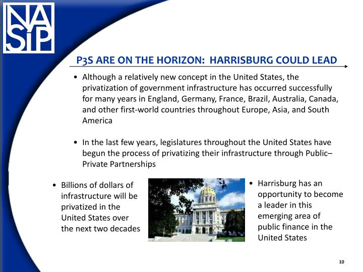 P3S ARE ON THE HORIZON:  HARRISBURG COULD LEAD