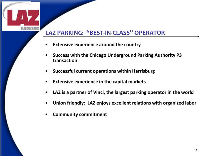 "LAZ PARKING:  ""BEST-IN-CLASS"" OPERATOR"