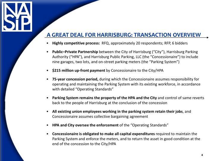 A GREAT DEAL FOR HARRISBURG: TRANSACTION