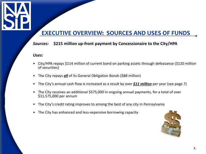 EXECUTIVE OVERVIEW:  SOURCES AND USES OF FUNDS