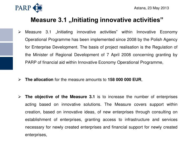 "Measure 3.1 ""Initiating innovative activities"""