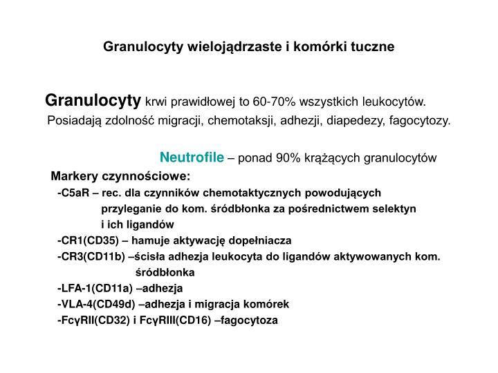 Granulocyty wielojądrzaste i komórki tuczne