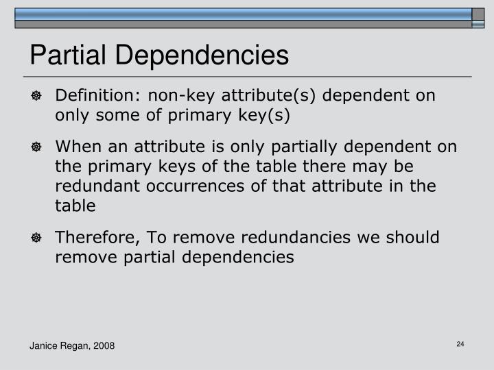 Partial Dependencies