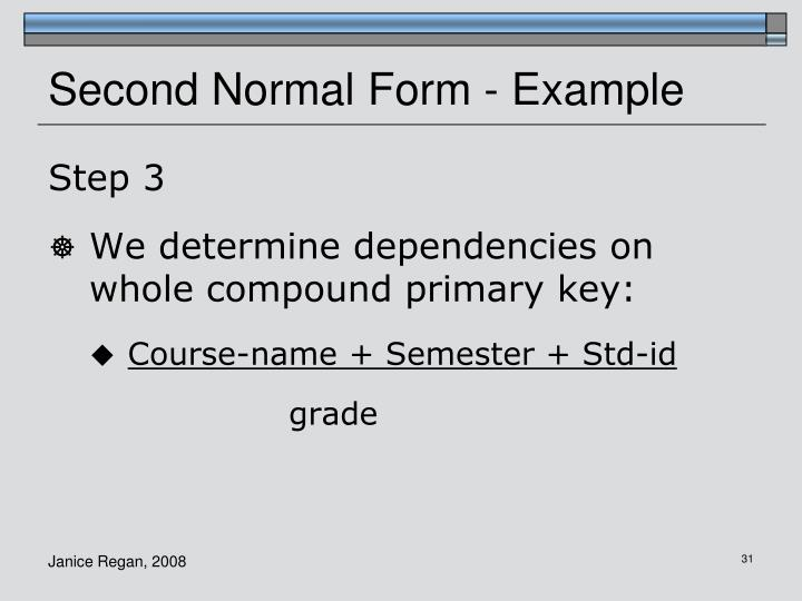 Second Normal Form - Example